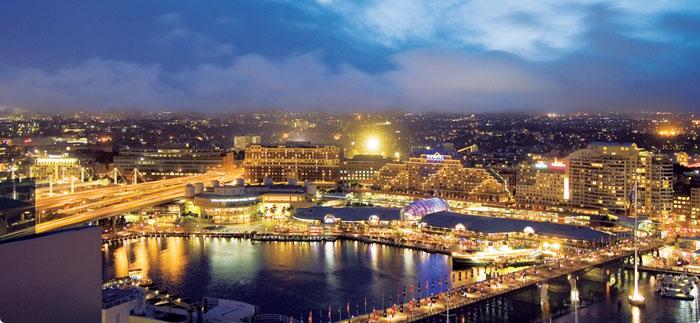 Khu trung tâm thương mại Sydney về đêm
